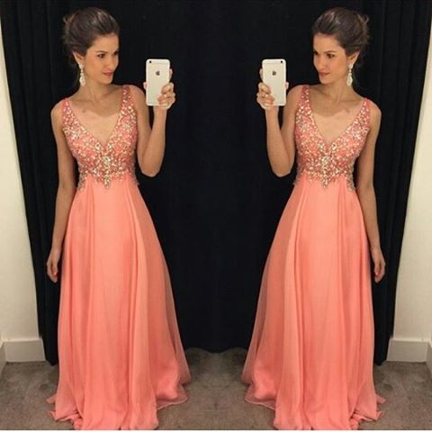 Robe De Soiree 2018 A-Line deep V Neck Prom gown Color Chiffon Floor Length Plus Size Long With Beads   bridesmaid     dresses