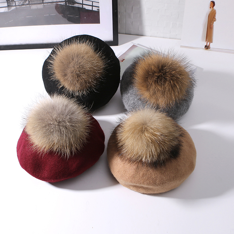 Raccoon Fur Ball Female Korean All Match Wool Hat Autumn Winter Knitted Pumpkin Bud Hair Cap Fashion Girl Street Cap new autumn winter warm children fur hat women parent child real raccoon hat with two tails mongolia fur hat cute round hat cap