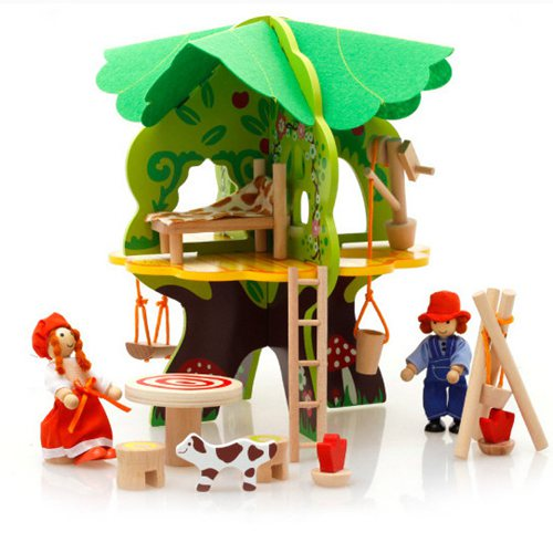 GEEK KING Pretend Play Wooden Toys 3D tree house Preschool Wood Toys for Children building blocks freeshipping image
