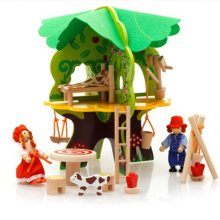 GEEK KING  Pretend Play Wooden Toys 3D tree house Preschool Wood Toys for Children building blocks freeshipping