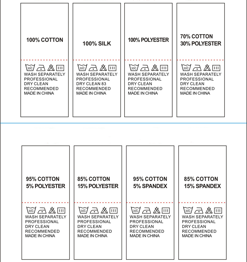 Garment Accessories Wash Care Labels Stock Component