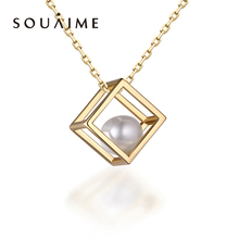 SOUAIME 2018 New 925 Sterling Silver Pearl Cages Charms Necklace Jewelry Cube Pendant Women Fine Necklaces For Hypoallergenic