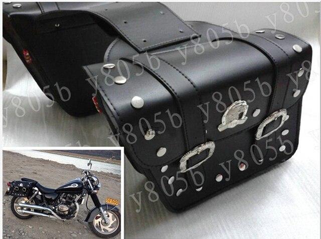 d8119cd4eabe Black PU Leather Side Bag Saddle Bags For Harley Davidson Sportster XL883  1200 Dyna Wide Glide