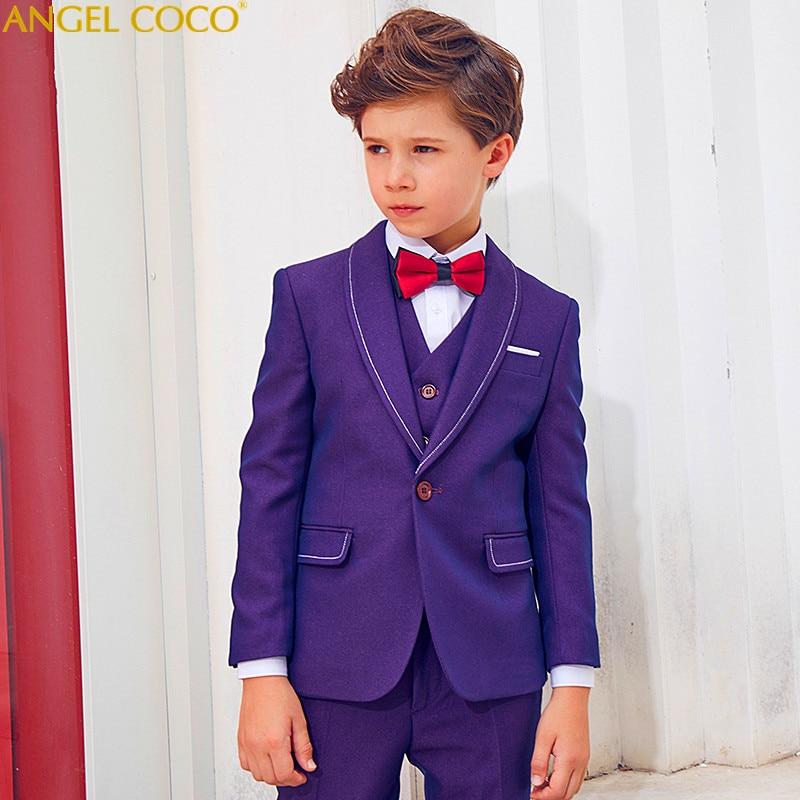 Purple England 5 Pieces (Coat + Vest + Pants + Shirt + Bow Tie) Boys Suits For Weddings Boys Prom Suits Boys Clothing Blazer