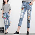 2017 Fashion Korean Style S-5XL Jeans Embroidery Holes Jeans Female Cartoon Mickey Printing Denim Jeans Ankle Length Pants