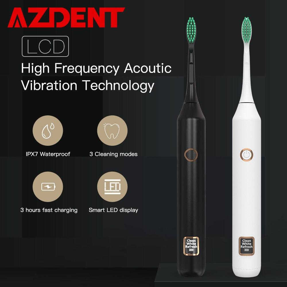 Maglev AZDENT LCD Inteligente de sonic escova de Dentes Elétrica Recarregável USB Inteligente Indução Terceira Marcha 4 Ultra sonic escova de Dentes Cabeça