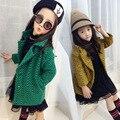 Kids girls spring / autumn plaid jacket 2017 new baby girls clothing fashion wavy woolen coat 4/5/6/7/8/9/10/11/12/13 years