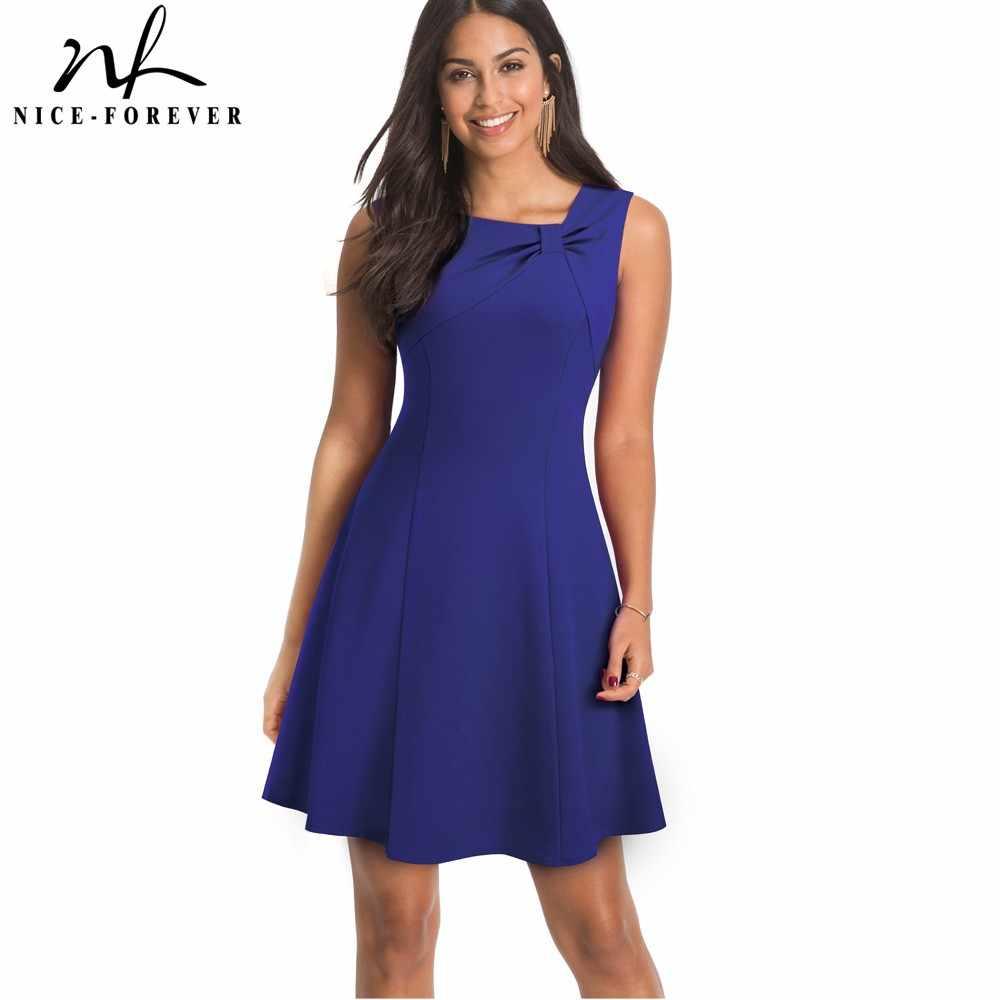 Женское однотонное деловое платье Nice-forever, летнее, элегантное и плиссированное платье-колокол, расширяющееся книзу, со свободным кроем красного или темно-синего цвета, 2019