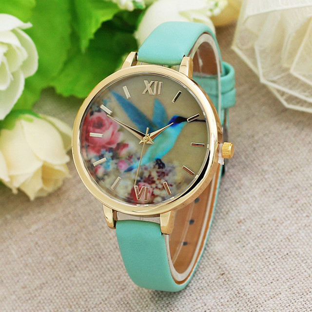 2017 Brand Watches Women Blue Hummingbird Printed Casual  Leather Band Analog Quartz Movement Wrist Watch Relogio Feminino