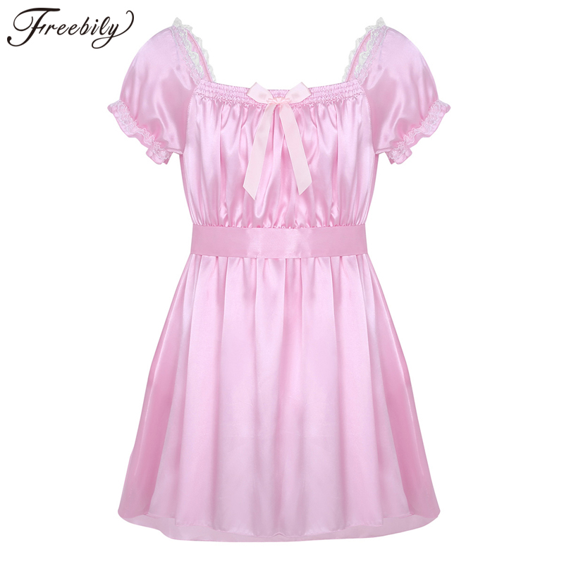 <font><b>Men</b></font> Sissy Nightwear <font><b>Sexy</b></font> Underwear Square Neckline Shiny Soft Satin High Low Design Crossdress <font><b>Lingerie</b></font> Dress with Sash image