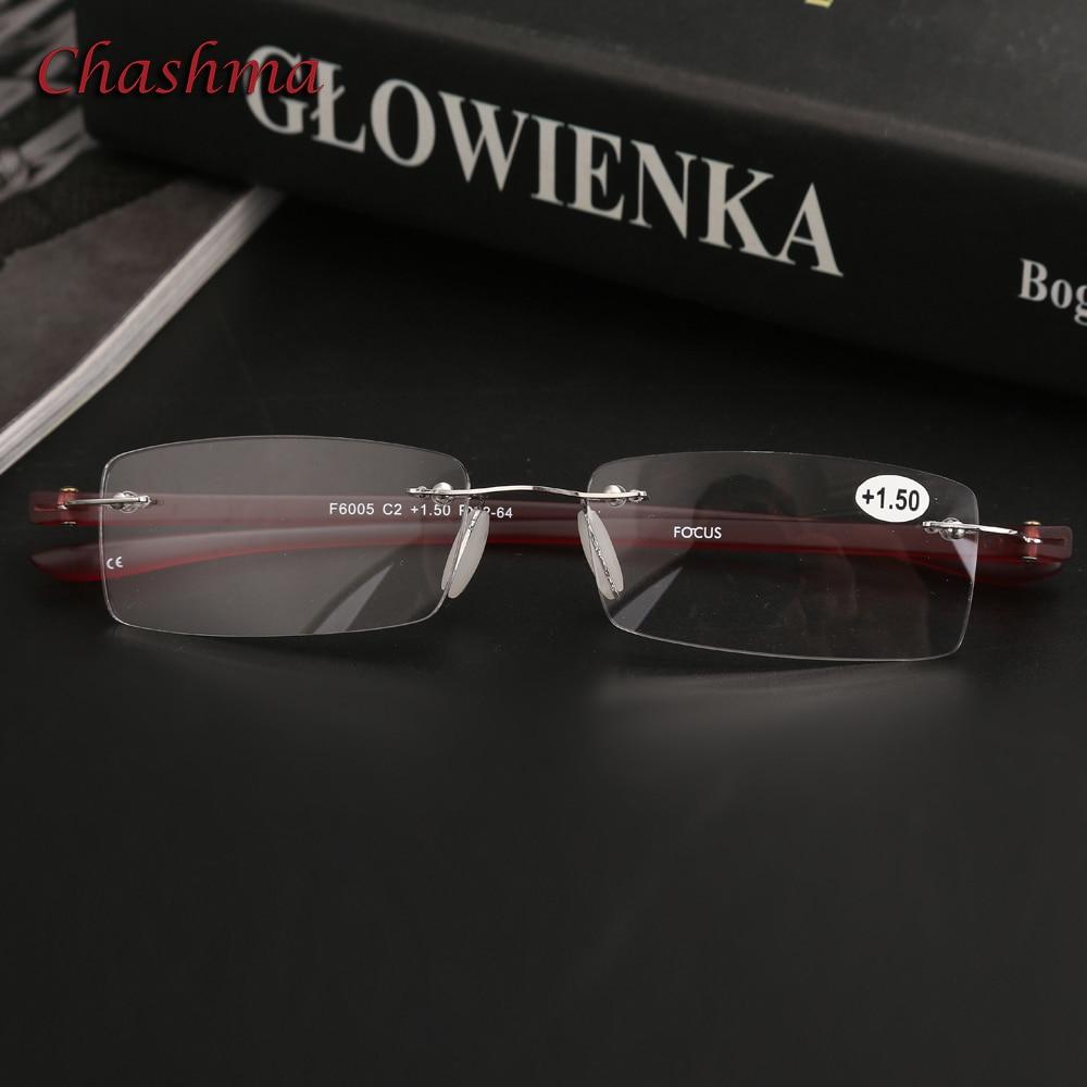 Chashma Brand Design Rimless Eyewear Light Weight Fashion Men Read Glasses Clear Lenses Anti Resistance Reading Glasses Female