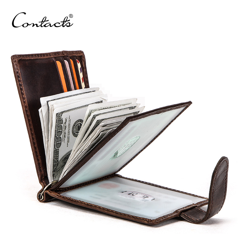 CONTACT'S Genuine Leather Men Money Clip With Hasp Driver License Card Holder Male Slim RFID Bifold Wallet Zipper Coin Purse