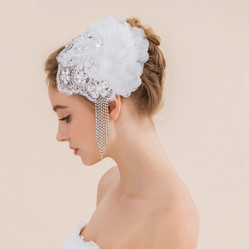 Wedding Hairstyle With Headband: 3 Designs Cathedral Wedding Vveil Vintage Crystal Bridal