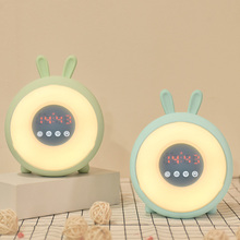 LED dream time sleeping wake up light Alarm clock desk table bedside rabbit lamp rechargable bulb for baby bedroom