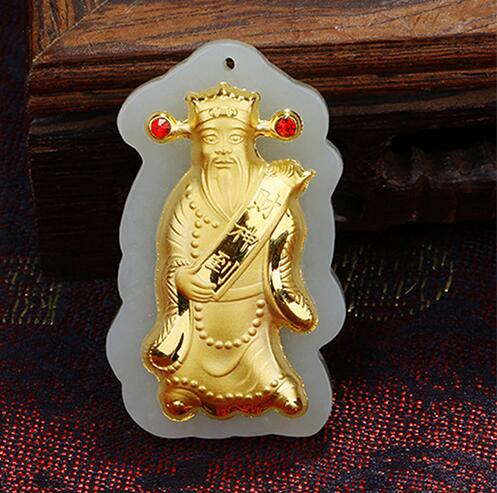 Natural White HeTian Yu + Full Gold Inlaid Carved Chinese God of Wealth Lucky Pendant Necklace + Certificate Fashion Jewelry цена
