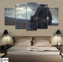 Wall Art Poster Painting Modular Pictures Living Room Decorative Canvas Printed 5 Panel WLOP Ghost Blade Anime Warrior
