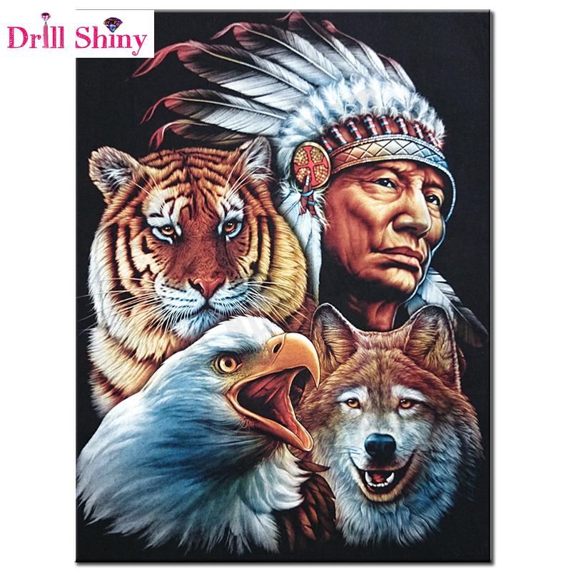 5D Full Square Diamond Painting Indian Tiger Wolf wall stickerMosaic Picture Of Rhinestone Diamond Embroidery Home Decor gift