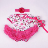 Wedding Baby Girl Party Dress Baby Romper Chiffon Headband Clothes Infant Girls Shoes Set Cupcake Outfit Vestido de Batizado