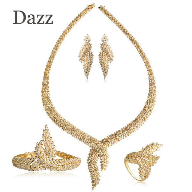 Dazz Special Wedding Jewelry Sets Full Zircons Flower Design Drop Earrings Necklace Bracelet Rings Set 4 Pcs Women Bijuterias