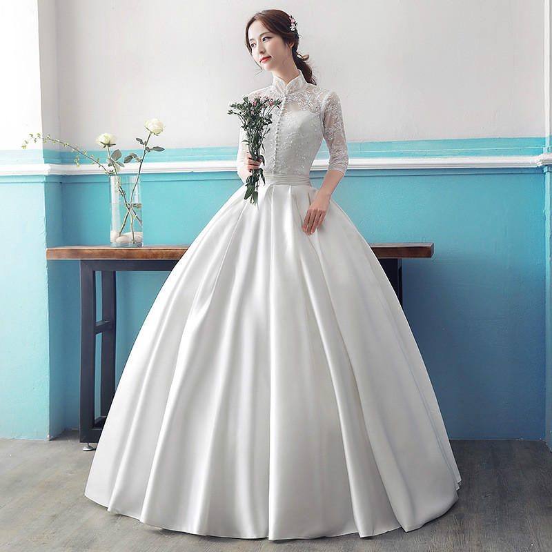 Real Photo Cheap Long Sleeve Wedding Dress 2017 Lace Vintage Plus ...