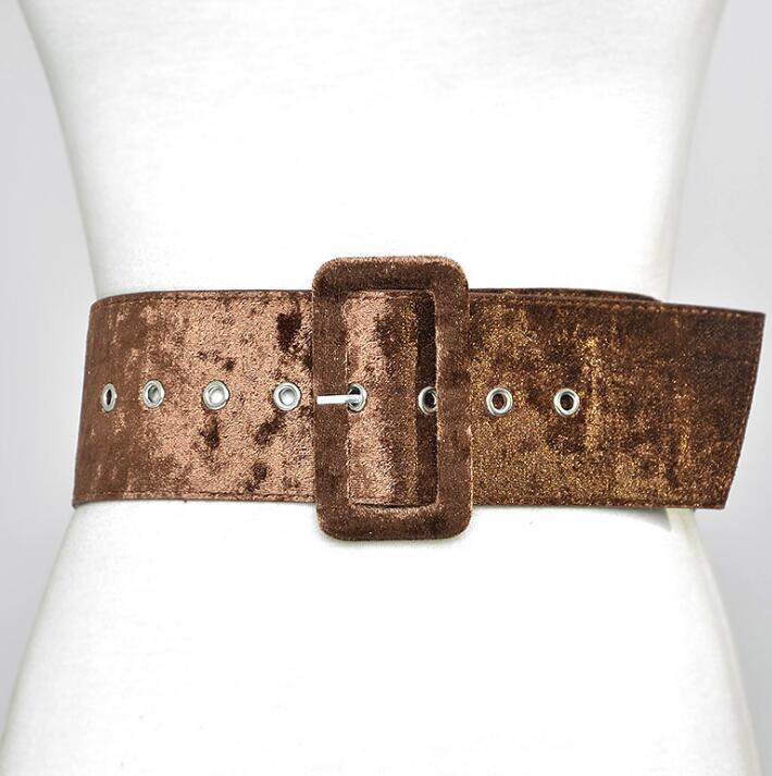 Women's Runway Fashion Velvet Cummerbunds Female Dress Corsets Waistband Belts Decoration Wide Belt R1432
