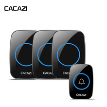 CACAZI New Wireless Doorbell Waterproof 300M Remote EU AU UK US Plug Door Bell Chime 110V 220V battery 1 transmitter 3 receivers