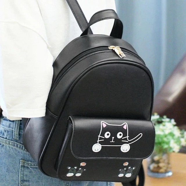New Fashion Women Backpack Top Quality Leather Backpack Cute Cat Shoulder  School Bags For Teenage Girls 2f7808c3efad7