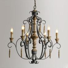 Винтажный деревянный подвесной светильник с 6 головками в скандинавском стиле в стиле старого виллы освещение для отелей лампы отправка ems