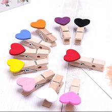 10 Pcs Clips Wall Deco DIY Creative Frame With Mini Colored Clothespins Photo clip photo frame clip Heart 2019(China)