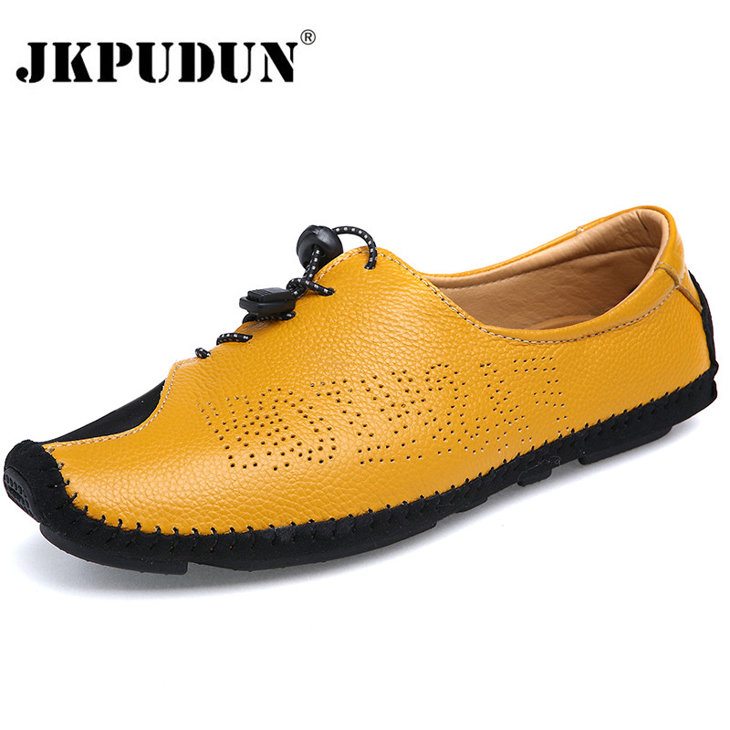 JKPUDUN Summer Designer Shoes Men High Quality Italian Mens Leather Boat Shoes Hollow Out Casual Loafers Luxury Brand Moccasins farvarwo italian mens loafers casual shoes high quality genuine leather slip ons moccasins flats shoes men black luxury brand