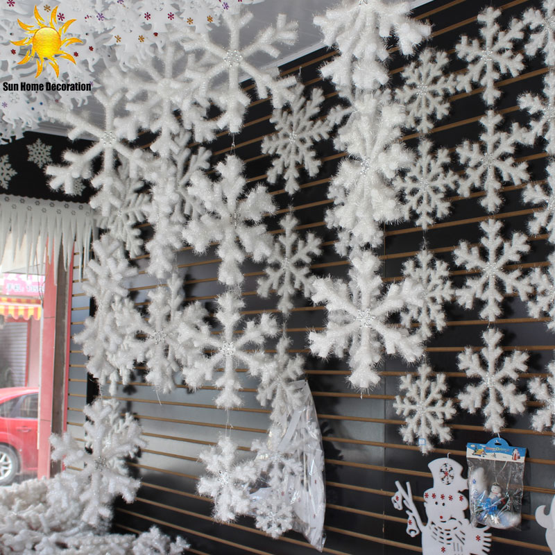 30pcs White Snowflake Christmas Ornaments Holiday Festival