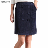 KoHuiJoo S-9XL 2017 Autumn Winter Plus Size Short Corduroy Skirt Women Double Breasted Button Casual Pencil Skirts Black Blue