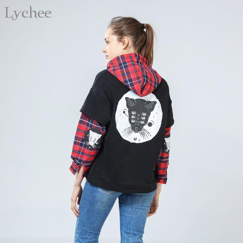 Lychee Harajuku Punk Women Sweatshirt Cat Printed Plaid Patchwork Long Sleeve Hoodies Tracksuit Fake 2 Pieces