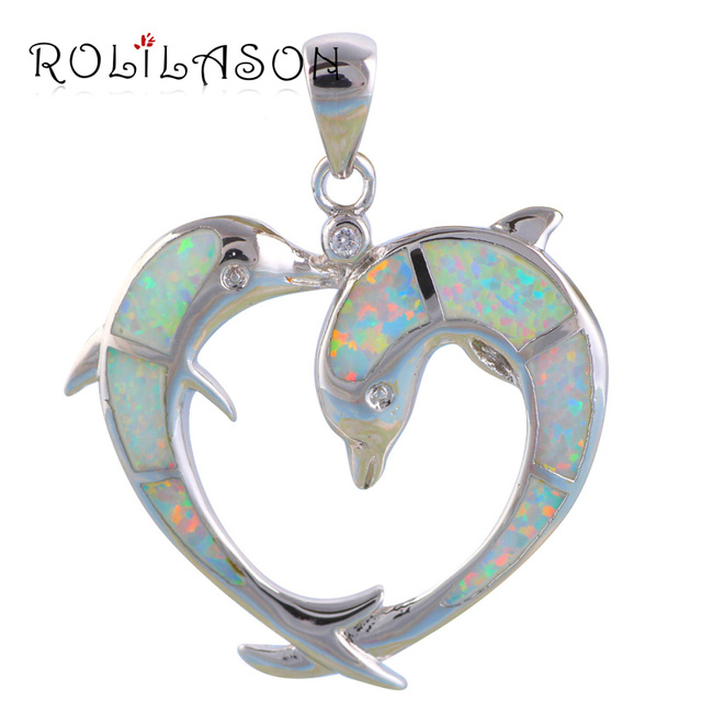 Two dolphins designer top quality white fire opal silver stamped two dolphins designer top quality white fire opal silver stamped pendants party fashion jewelry for women mozeypictures