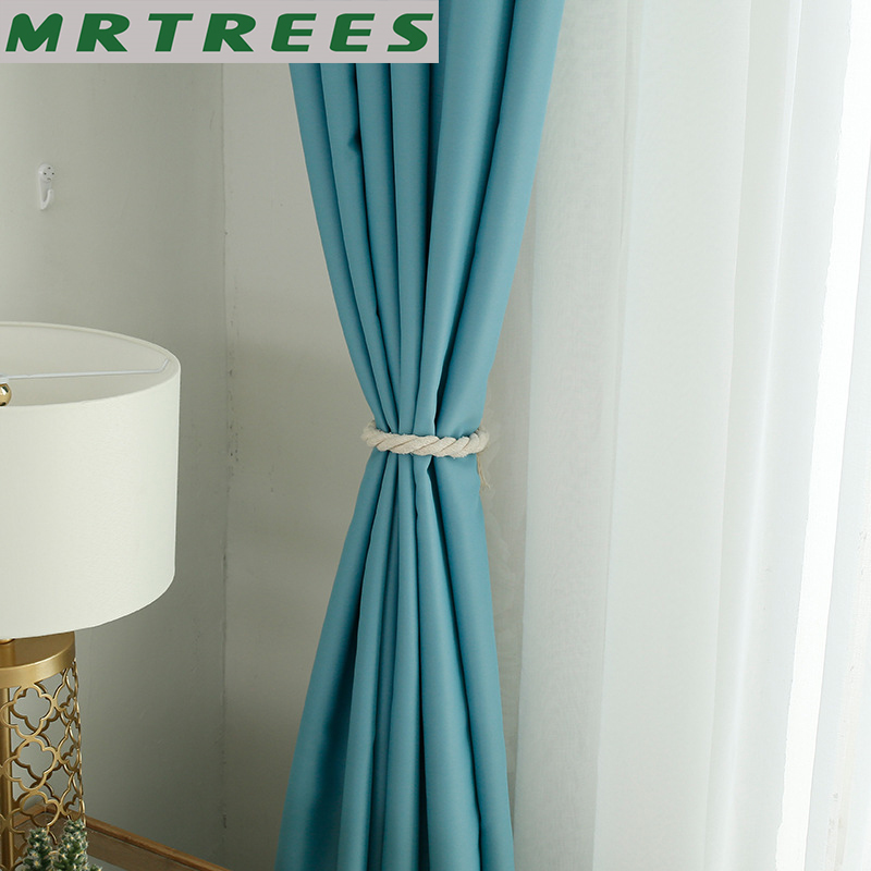 Blackout Curtains For Living Room Modern Kitchen Bedroom Blue Thick Curtains Drapes Fabric On The Window Panel Curtains