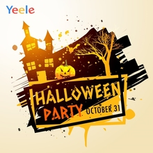 Yeele Halloween Pumpkin Terrible House Children's Party Poster Photography Backdrops Photographic Backgrounds For Photos Studio