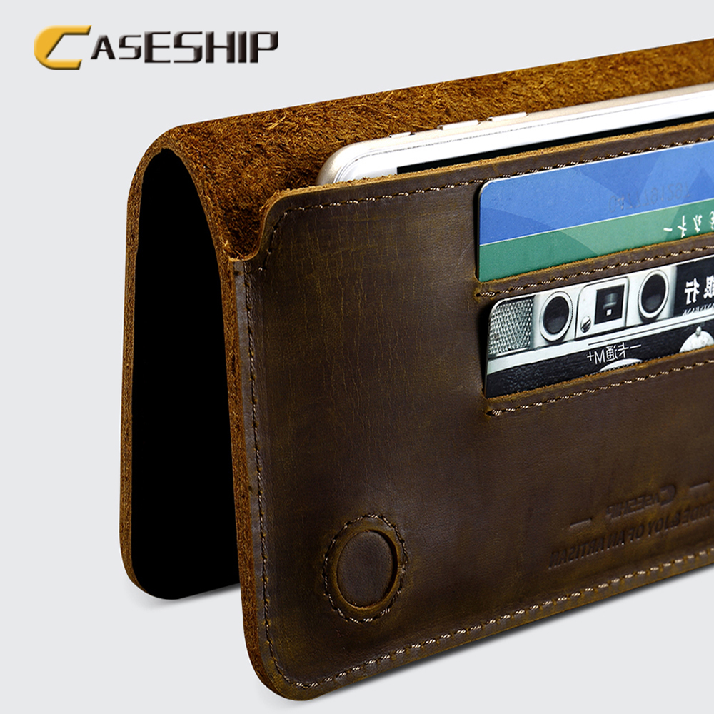 CASESHIP Phone Case For <font><b>iPhone</b></font> 6 6S 7 Plus 5S 5SE 5.5 inch Real Leather Vintage Wallet Case Shockproof Card Holder Cases Cover