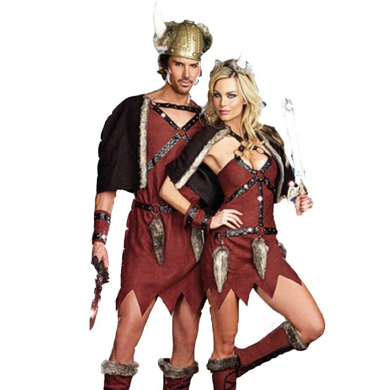 Les Couples adultes Médiévale Larp Soldat Costume Robe Nordique Puissant Vikings Costume De Pirate Fantaisie Chefs Tribaux Tenue Pour Homme Femmes