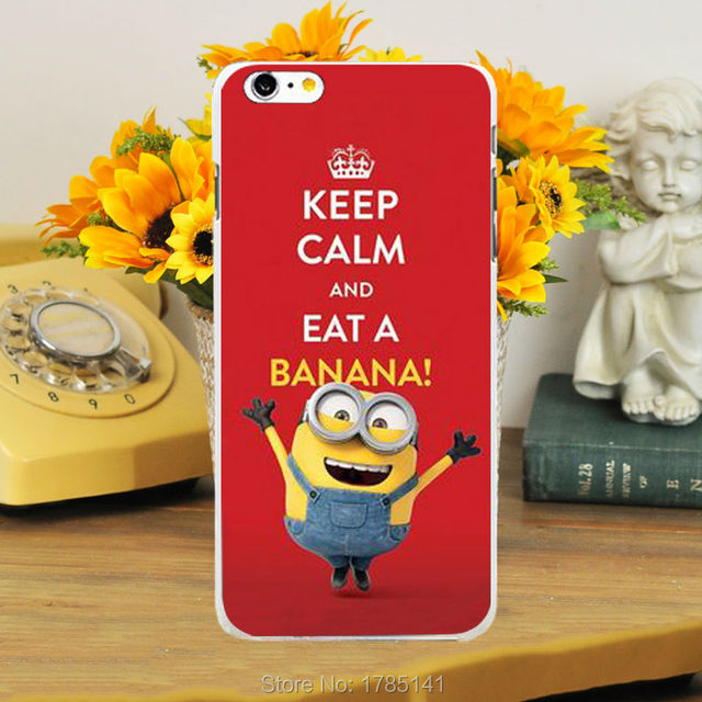 1pcs Cute Minions Keep Calm And Eat A Banana Design Hard White Skin Case  For Iphone6