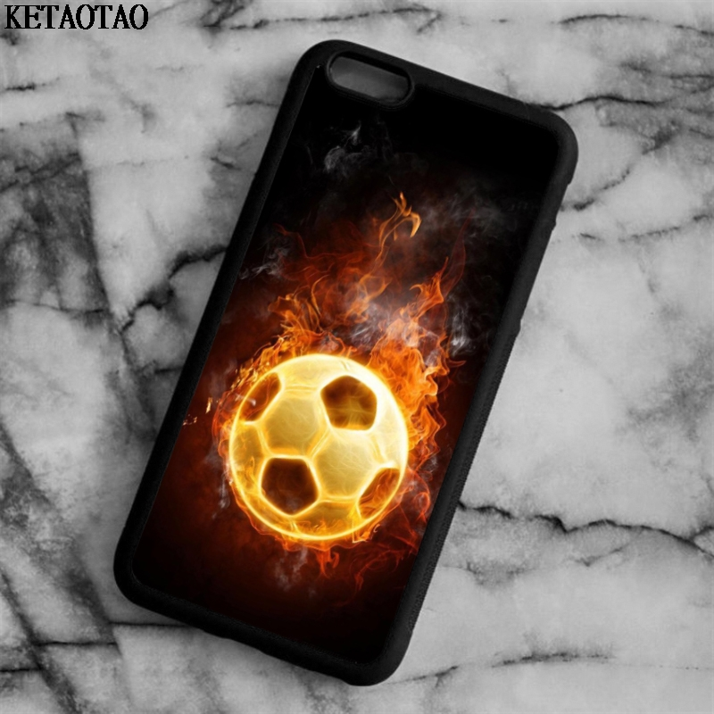 KETAOTAO burning soccer ball Style Phone Cases for iPhone 4S 5C 5S 6 6S 7 8 Plus X for Samsung S7 Case Soft TPU Rubber Silicone
