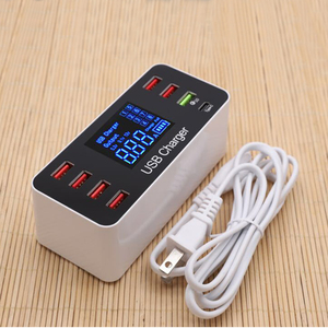 Image 1 - 40W carga rápida 3,0 Smart 8 puertos USB cargador estación LED pantalla adaptador de corriente de carga rápida escritorio tira para iPhone SAMSUNG