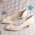 Wedopus Большого Размера Свадебные Туфли Свадебные Бежевый Кружева Peep Toe 4 СМ Каблук