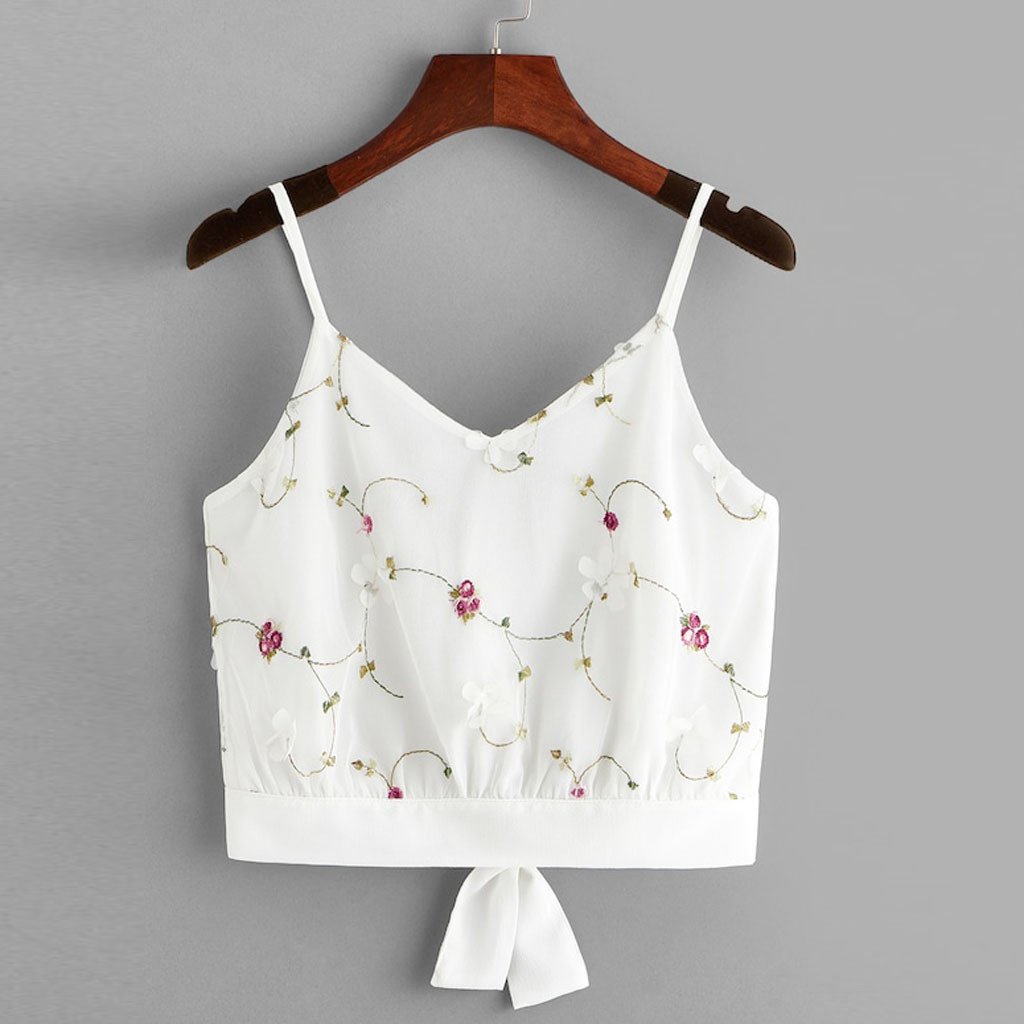 Crop Top Vrouwen Mouwloze Mesh Borduren Crop Vest Tank Zomer Strand Schede Stretch Zachte Dagelijkse Casual Shirt Flared Cami Tops
