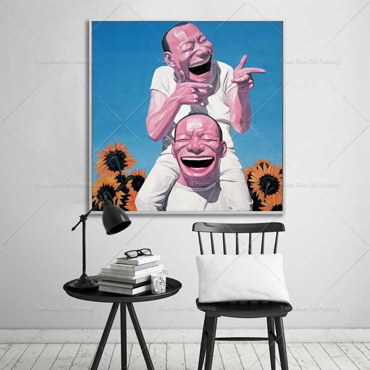 Unframe chinois rire 100% peint à la main peinture à l'huile toile décoration de la maison mur photos salon photos