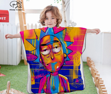 Cartoon Rick and Morty funny Hooded baby Boys Girls Towel Wearable Bath For Kids Travel 3D print Beach Towels style-3