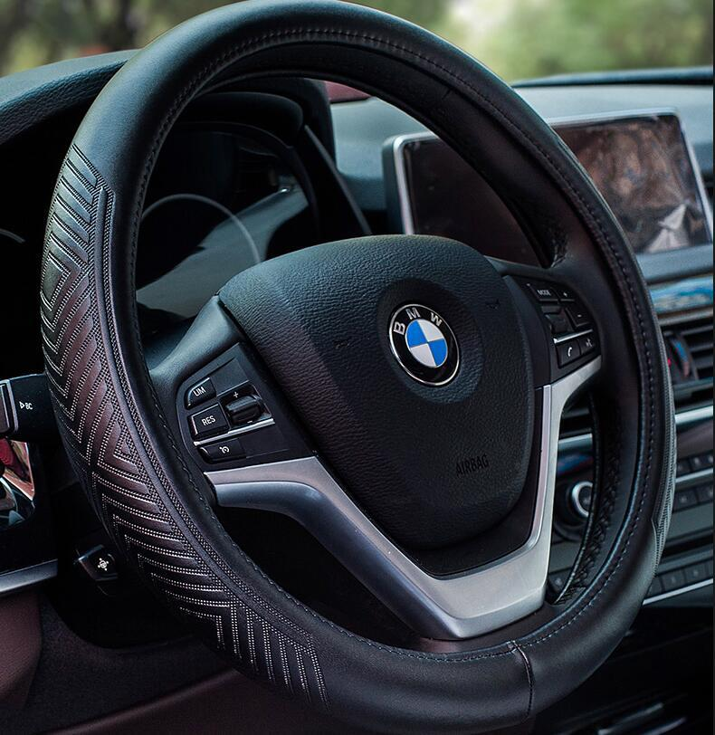 embossed black really leather steering wheel cover professional Wheel Cover leather steering wheel set with three patterns