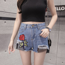 Just.be.never 2017 New Summer European American Fashion Shorts Embroidery Roses High Waist Ripped Jeans Feminino Embroidered