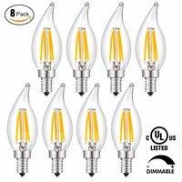 8Pcs Warm White Led Bulb Night Light Energy Saving Lamp Base 40W Led Filament Bulb Dimmable