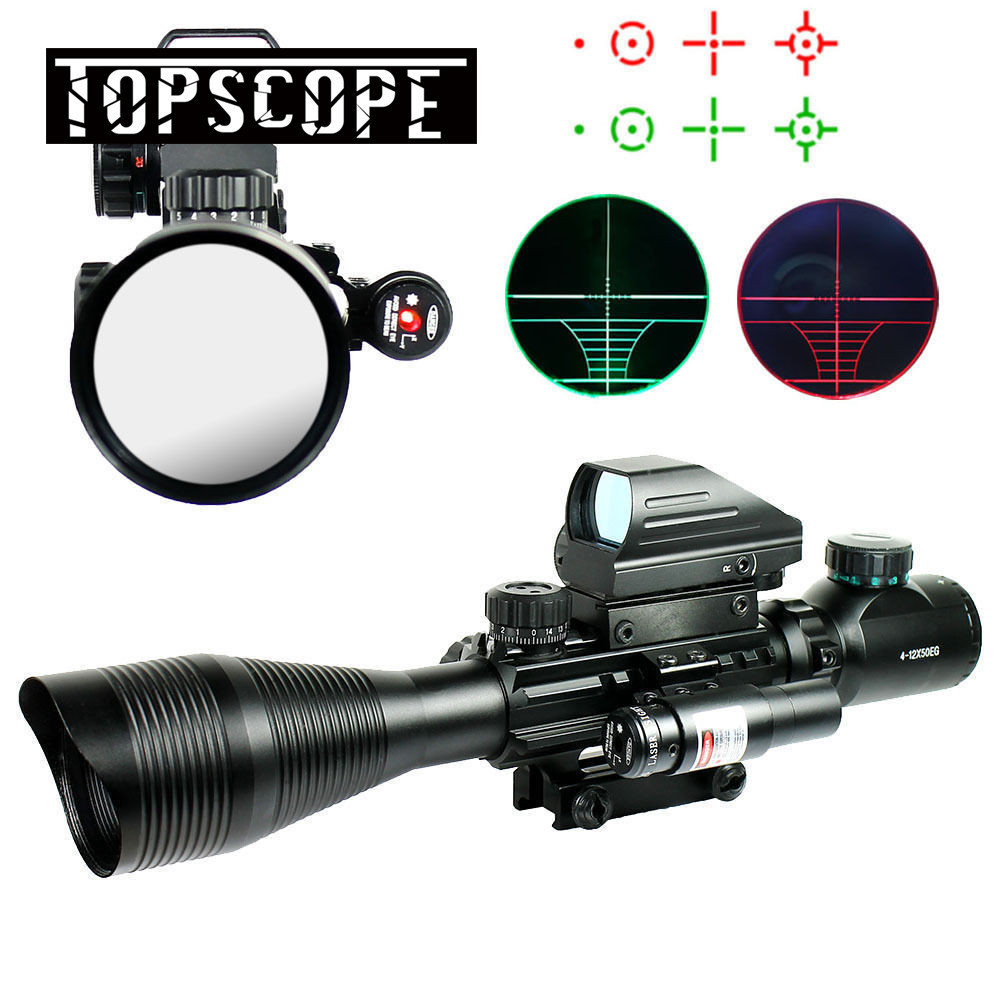 Tactical 4-12X50EG Red & Green Illuminated Rifle Scope w/ Holographic 4 Reticle Sight & Red Laser JG8Tactical 4-12X50EG Red & Green Illuminated Rifle Scope w/ Holographic 4 Reticle Sight & Red Laser JG8