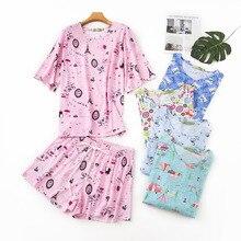Shuchan Cotton Pijamas Women Loose Print Round Neck Tops With Short Sleeve+shorts Summer 2019 New Suit Sleepwear Everyday